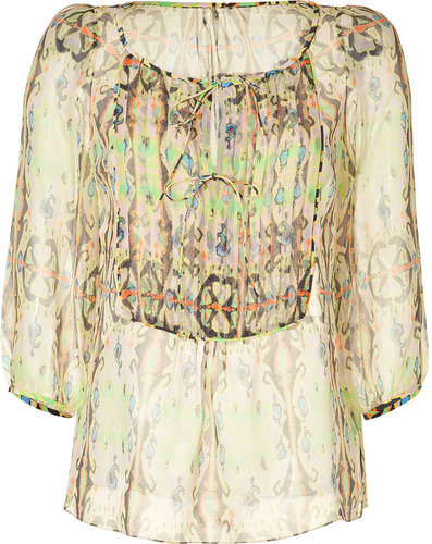 Tibi Tropical Printed Sheer Silk Tunic Top