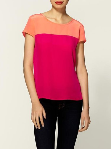 Amanda Uprichard Color Block Silk Top