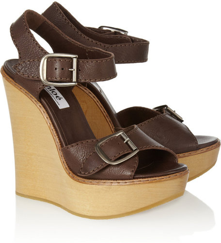 Chlo Leather and wooden wedge sandals