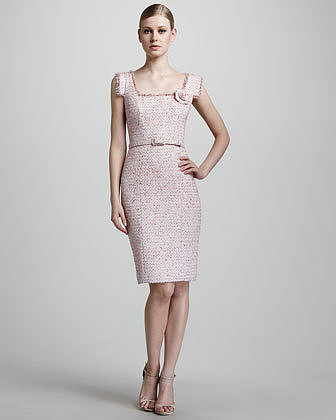 Theia Belted Tweed Dress