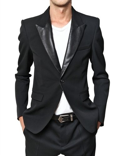 Balmain - Perforated Leather Lapel Twill Wool Jack