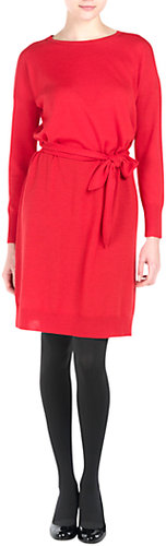 kew.159 Tie Front Knit Dress, Red