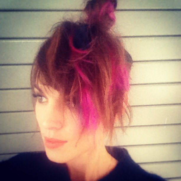 Pretty in pink? Alexa Chung tested out some neon-hued hair. Source: Instagram user chungalexa
