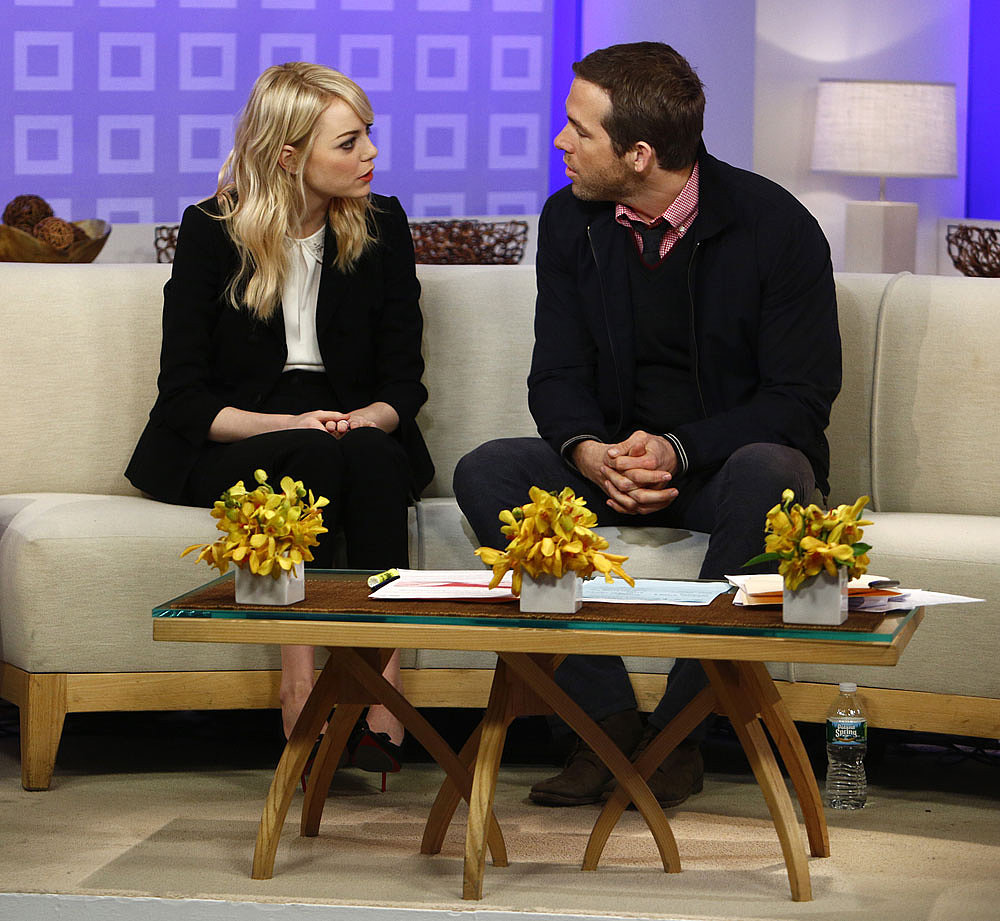 Emma Stone and Ryan Reynolds were deep in conversation while promoting The Croods in NYC on Friday.