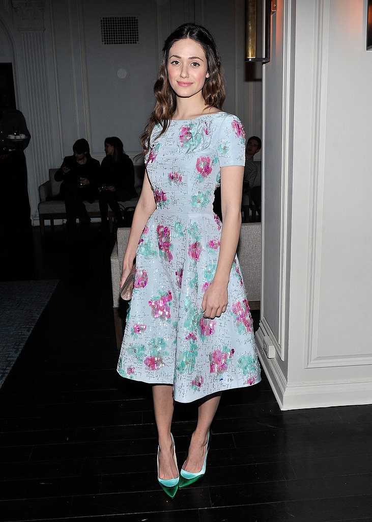 Emmy Rossum brought a Spring-feeling Oscar de la Renta dress to an NYC screening of Oz.