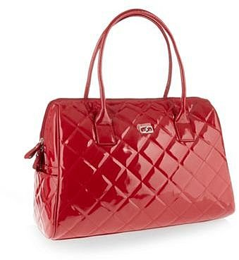 Red quilted weekender bag
