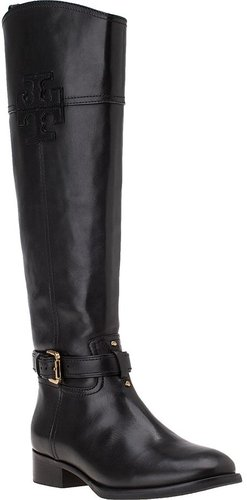 TORY BURCH Blaire Riding Boot Black Leather
