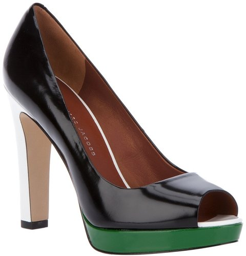 Marc By Marc Jacobs Block colour peep toe pump