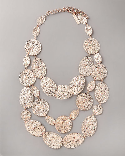 Oscar de la Renta Hammered Disc Necklace