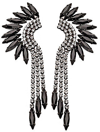 Elizabeth Cole Jewelry Black Crystal Mohawk Earrings