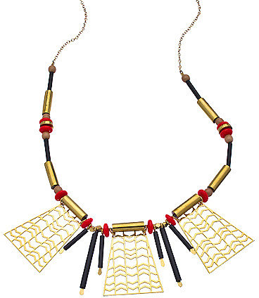 Kris Nations Tomato Red and Tan Kimo Necklace