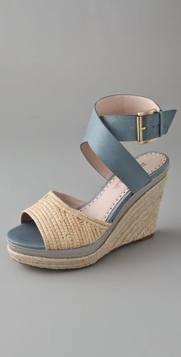 Rosegold Cali Raffia Wedge Sandals