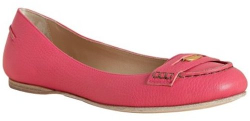 Fendi bright pink leather flat penny loafers