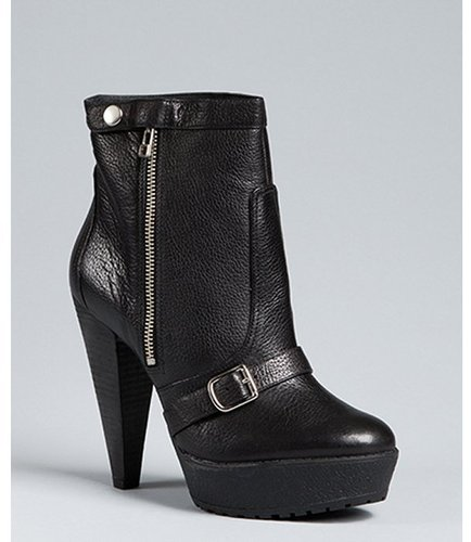 Pour la Victoire black leather &#039;Darien&#039; platform buckle boots