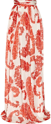 Giambattista Valli Floral-print silk-chiffon maxi skirt