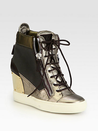 Giuseppe Zanotti Alba Canvas &amp; Metallic Leather Wedge Sneakers
