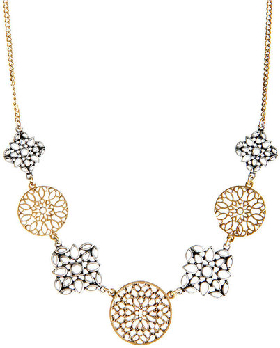 Lucky Brand Necklace, Two Tone Openwork Disc Collar Necklace