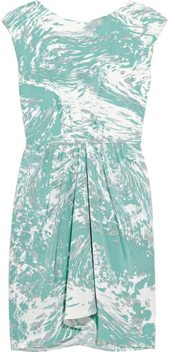 Tibi Marble-print silk dress