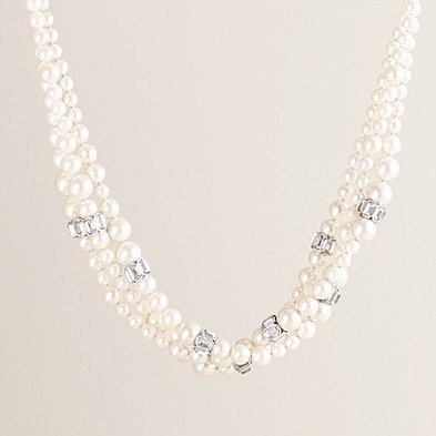 Triple-strand pearl and rondelle necklace