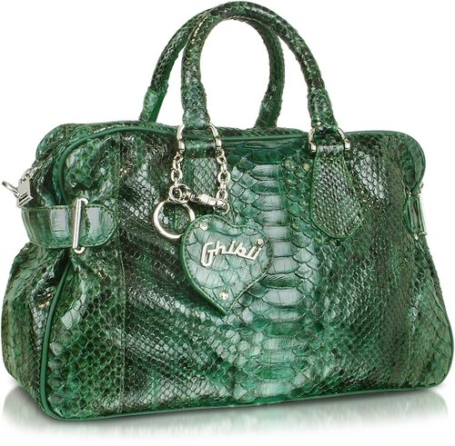 Ghibli Green Python Satchel Bag
