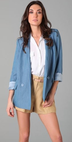 Tibi Chambray Angel Draped Jacket