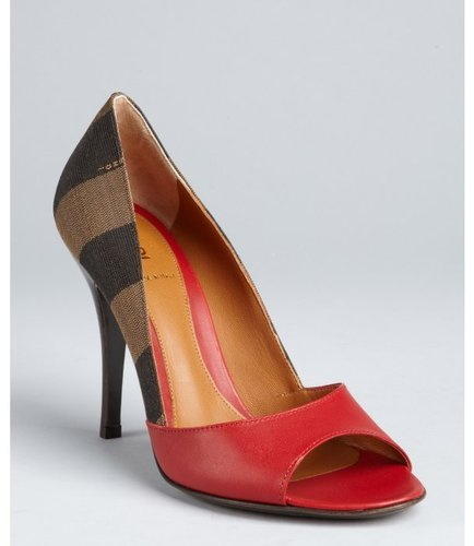 Fendi red and tobacco stripe canvas peep toe pumps