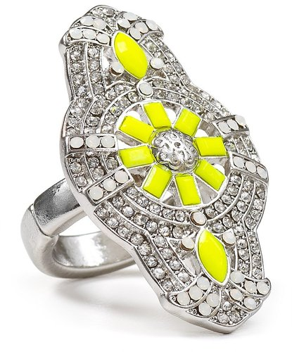 Aqua Yellow Deco Ring