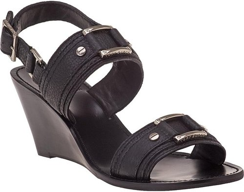 TORY BURCH Pier Wedge Sandal Black Leather