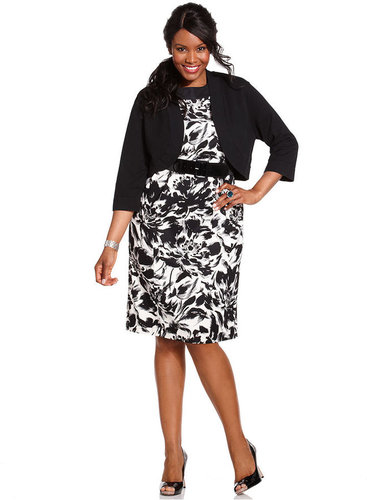 Jessica Howard Plus Size Dress and Cardigan, Sleeveless Belted Floral Printed Sheath