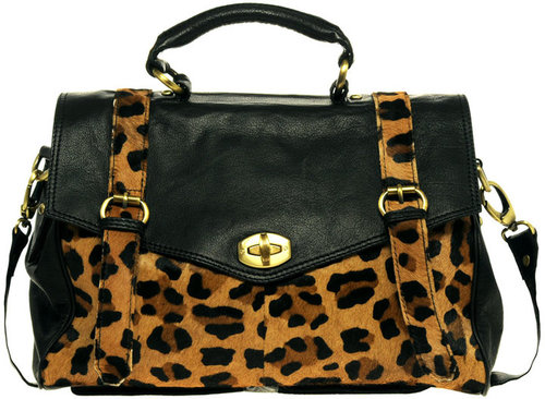 ASOS PREMIUM Leather Bag With Leopard Print Trim