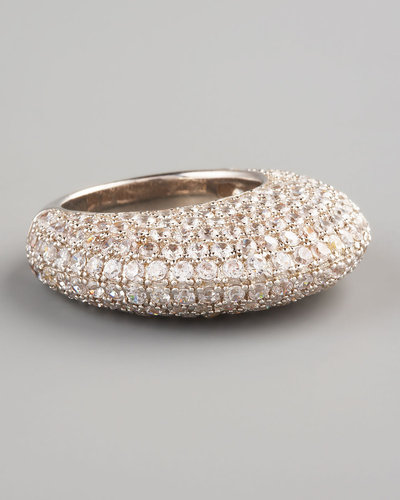 Nicholai Pave Crystal Dome Ring, Silvertone (CUSP Most Loved!)