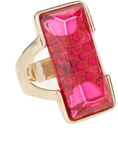 Lipsy Gold And Pink Square Stoned Ring