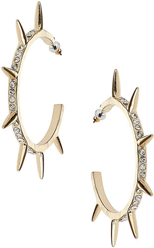Stone Spike Hoop Earrings