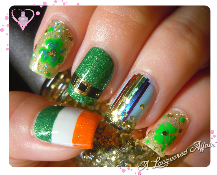 St. Patrick's Day nail art  2013