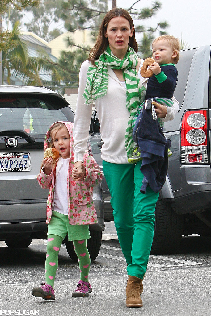 Jennifer Garner got in the St. Patrick's Day spirit this year when she got decked out in green with Seraphina and Samuel.
