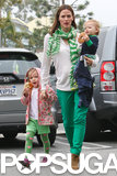 Jennifer Garner wore a green outfit for St. Patrick's Day.