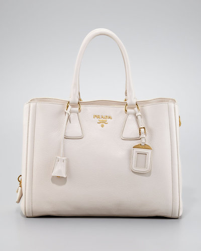 Prada Cervo Center Zip Tote Bag, Talco