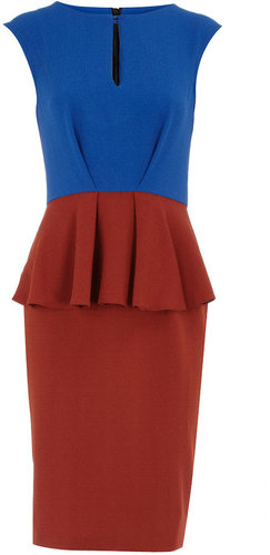 Blue split neck peplum dress