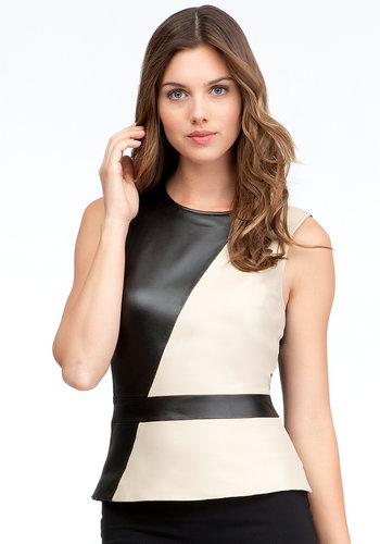 Colorblock Leather Peplum Tank