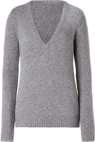 American Vintage Heather Grey V-Neck Wool/Cashmere Blend Sweater