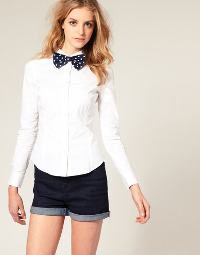 ASOS Spotty Bow Tie Shirt