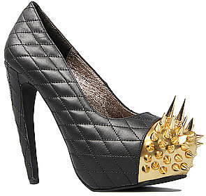 Jeffrey Campbell The Battle Shoe in Black Quilt and Gold