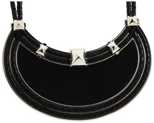 Vince Camuto - Charlie Leather Bib Necklace (Light Rhodium/Black Goat) - Jewelry