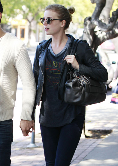 Emily VanCamp sported a leather jacket in LA.
