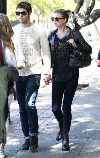 Emily VanCamp and Josh Bowman kept in casual while grabbing lunch.