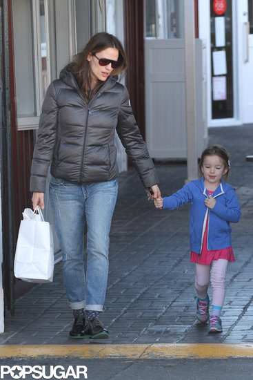 Jennifer Garner wore a warm jacket while Seraphina kept warm in a little blue zip-up.