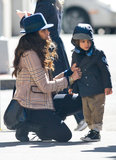 Camila Alves buttoned up her son Levi's jacket in NYC.
