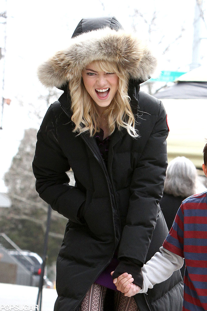 Emma Stone laughed on the NYC set of The Amazing Spider-Man 2.