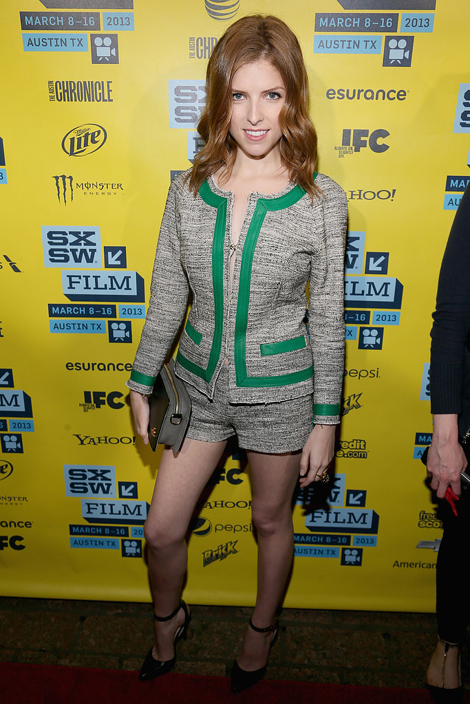 Anna Kendrick chose a stem-flaunting Marissa Webb shorts suit for the premiere of Drinking Buddies.