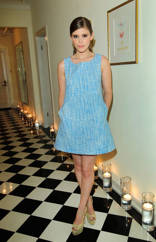 Kate Mara was ladylike and mod in a blue tweed swing dress and gold Brian Atwood sandals at the Joe Fresh dinner in LA.